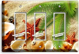 Sea Shell Beach Sand Palm Starfish 3 Gfci Light Switch Wall Plate Bathroom Decor - $16.19
