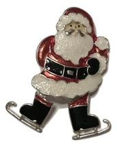 Macys Holiday Santa on Ice Skates Brooch Pin - $14.84