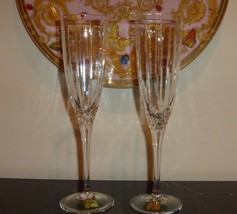 "2 Waterford Marquis Arcadia Fluted Champagne Glasses 9"" - $29.00"