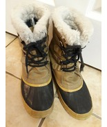 VTG Sorel Kaufman Manitou Leather Wool Insulated Winter Boots Men 8 Wome... - $39.59