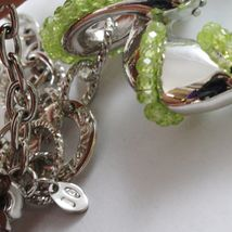 925 STERLING SILVER NECKLACE WITH PERIDOT FINELY WORKED BIG HEART PENDANT, ITALY image 6