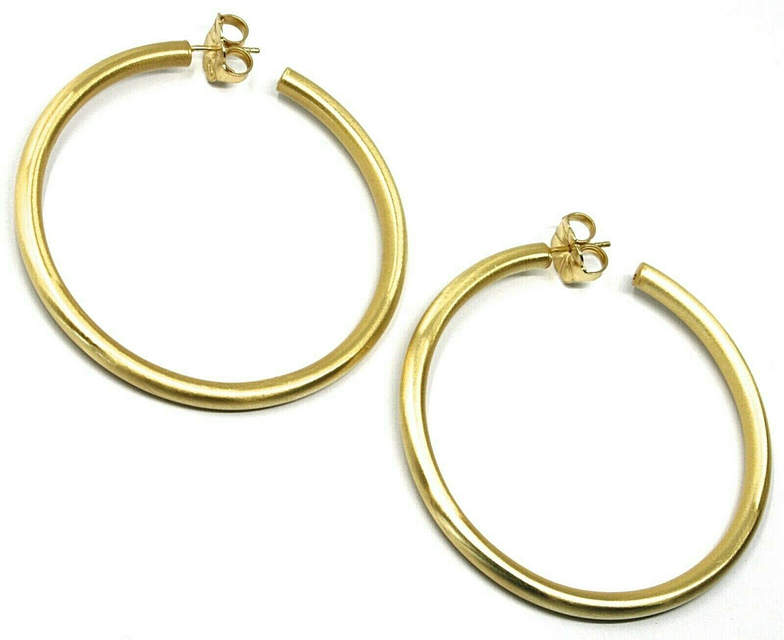 925 STERLING SILVER CIRCLE HOOPS BIG EARRINGS, 6 cm x 4 mm, YELLOW, SATIN FINISH