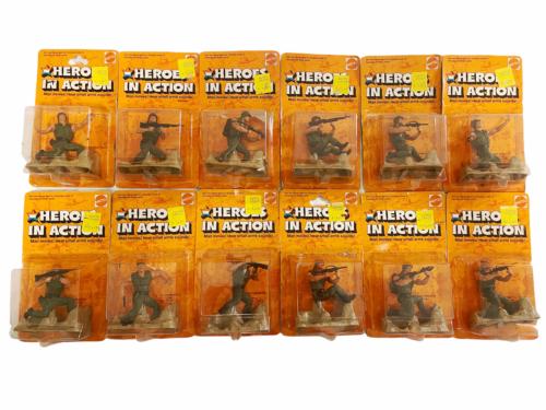 Lot (12) NOS Vintage 1974 Mattel Heroes in Action Card Figure Sealed Package