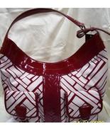 Cole Haan Sabra Red-White Hobo Handbag Purse Tote - $100.00