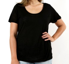 Plus Slub Tee, Black Relaxed TShirt, Plus Womens Black Tops, Colbert Clothing