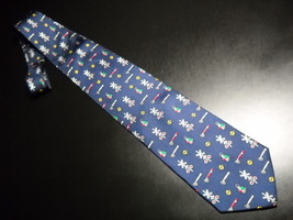 Alynn Neckwear Neck Tie Dark Blue with Repeating Multi Colored Train Sig... - $11.99