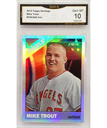 GEM 10  MIKE TROUT REFRACTOR 2015 TOPPS HERITAGE CHROME #THC-500 RAINBOW... - $449.95