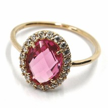 SOLID 18K ROSE GOLD FLOWER RING, CUSHION PINK OVAL CRYSTAL CUBIC ZIRCONIA FRAME image 1