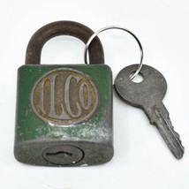"Vintage ILCO Green 2.5"" Padlock Working Lock & Key"
