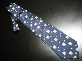 Alynn Neckwear Neck Tie Dark Blue with Repeating Night Owls in Greens Re... - $11.99