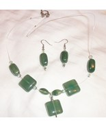 necklace and earring set green stones handmade - $14.00