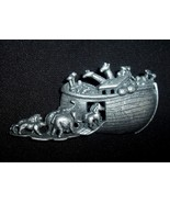 Ark with Animals Pewter Brooch - $12.00
