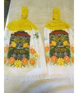 Brand New Crochet Top Kitchen Towels Happiness Blooms From Within - $9.99