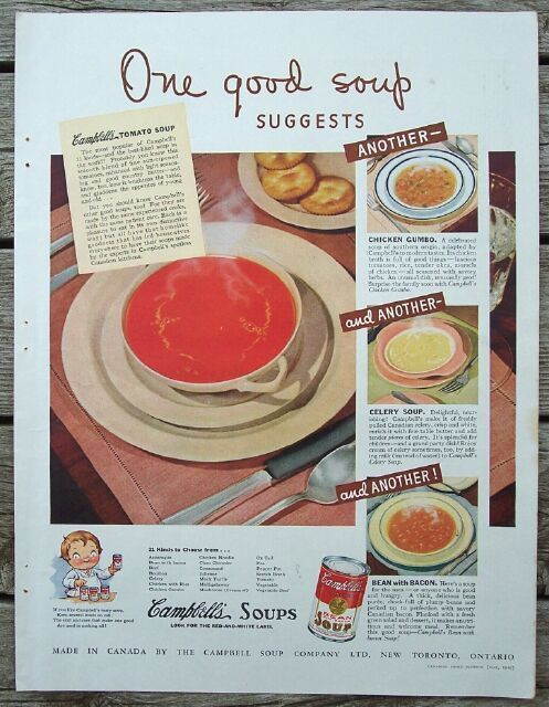 "1940 Campbell's Tomato Soup ""One Good Soup"" Ad +"