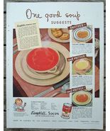 "1940 Campbell's Tomato Soup ""One Good Soup"" Ad + - $5.00"