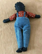 "15"" Folk art African American doll cloth hand made boy overalls Louisiana  - $22.28"