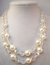 Vintage Coro double strand necklace with faux pearls and Aurora Borealis crystal - $14.00