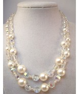 Vintage Coro double strand necklace with faux pearls and Aurora Borealis... - $14.00