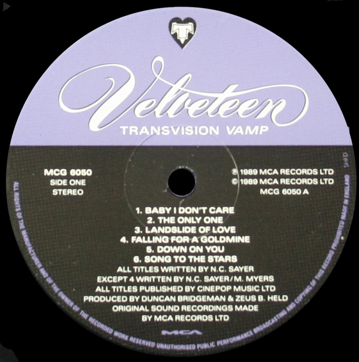 Transvision Vamp - Velveteen LP UK Scarce Glam