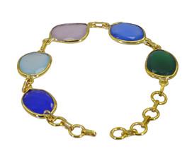 enticing Multi Gemstone Gold Plated Multi Bracelet genuine india US gift - $17.86