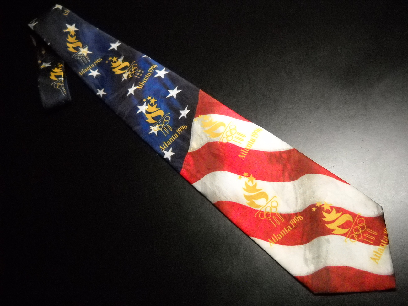 Primary image for Ralph Marlin Neck Tie Olympic Games Collection Atlanta 1996 Furled Flag Back
