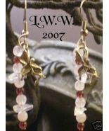 Pagan Garnet, Rose Quartz, & Crystal Fairy Earrings NEW - $4.99