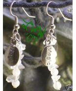 Pagan Wiccan Rose Quartz & Crystal magic Charm Earrings - $4.99