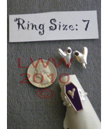 Purple Vampire Coffin Ring SIZE 7 & Bleeding heart Earrings - $6.99