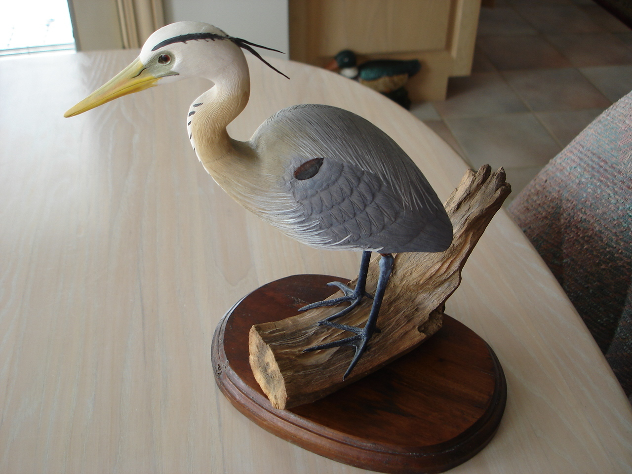 Collectible Blue Heron Carved Wood Handpainted Bird Figurine