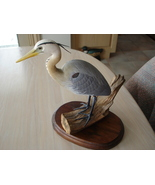 Collectible Blue Heron Carved Wood Handpainted Bird Figurine - $259.99