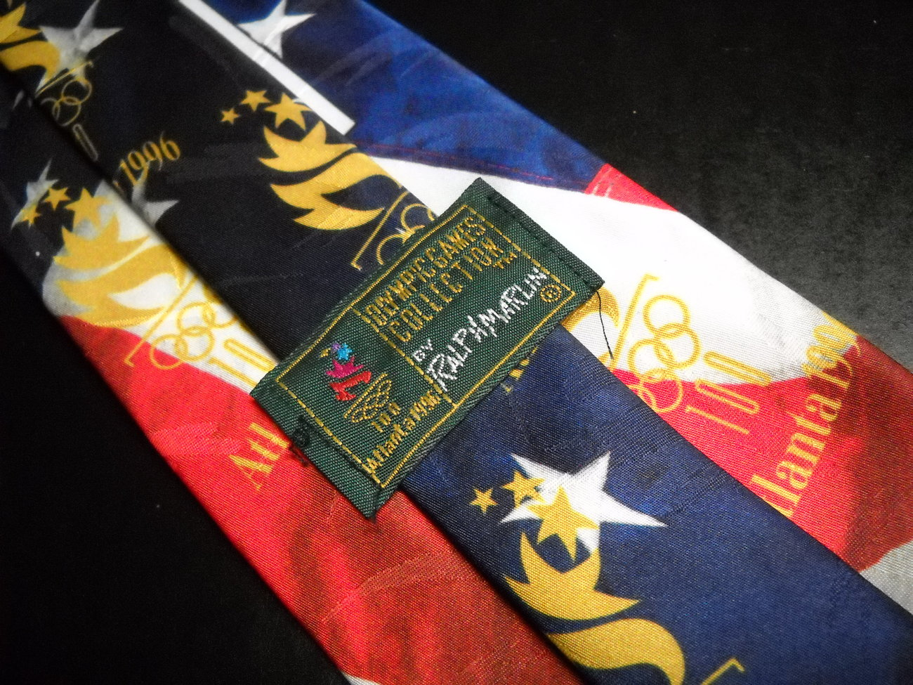 Ralph Marlin Neck Tie Olympic Games Collection Atlanta 1996 Furled Flag Back