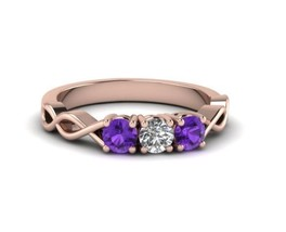 14K Rose Gold Plated 3/4Ct Purple & White Round Diamond 3 Stone Engageme... - $82.99