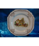 Princess Cake Plate Vintage Thatched Cottage Scene England Collector Sou... - $9.95