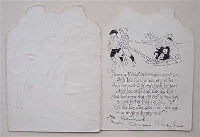 Old 1940-50's Christmas Card w Boy & Snowman