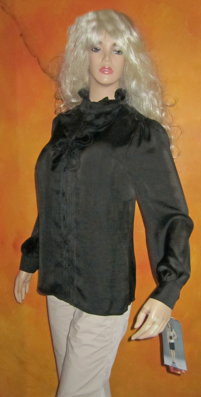 Primary image for NWT Lapis $49 Black Pleated  Ruffle Front Blouse Shirt Medium
