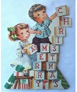 Old Christmas Card: Merry Christmas Blocks Cut Out - $3.50