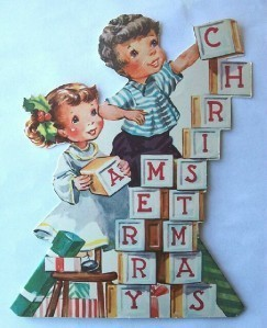 Old Christmas Card: Merry Christmas Blocks Cut Out