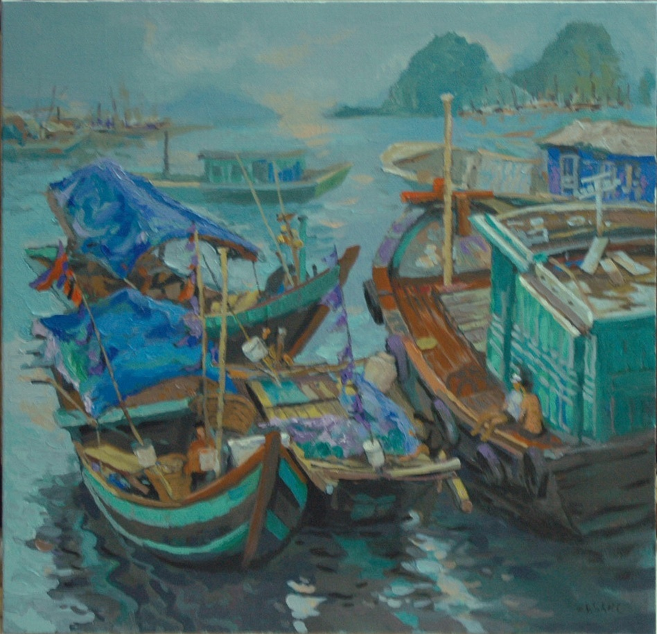 Boats at Sea, Vietnamese hand painted oil painting