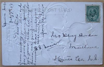 1908 Embossed PC Roses Greetings mailed to SS Susie