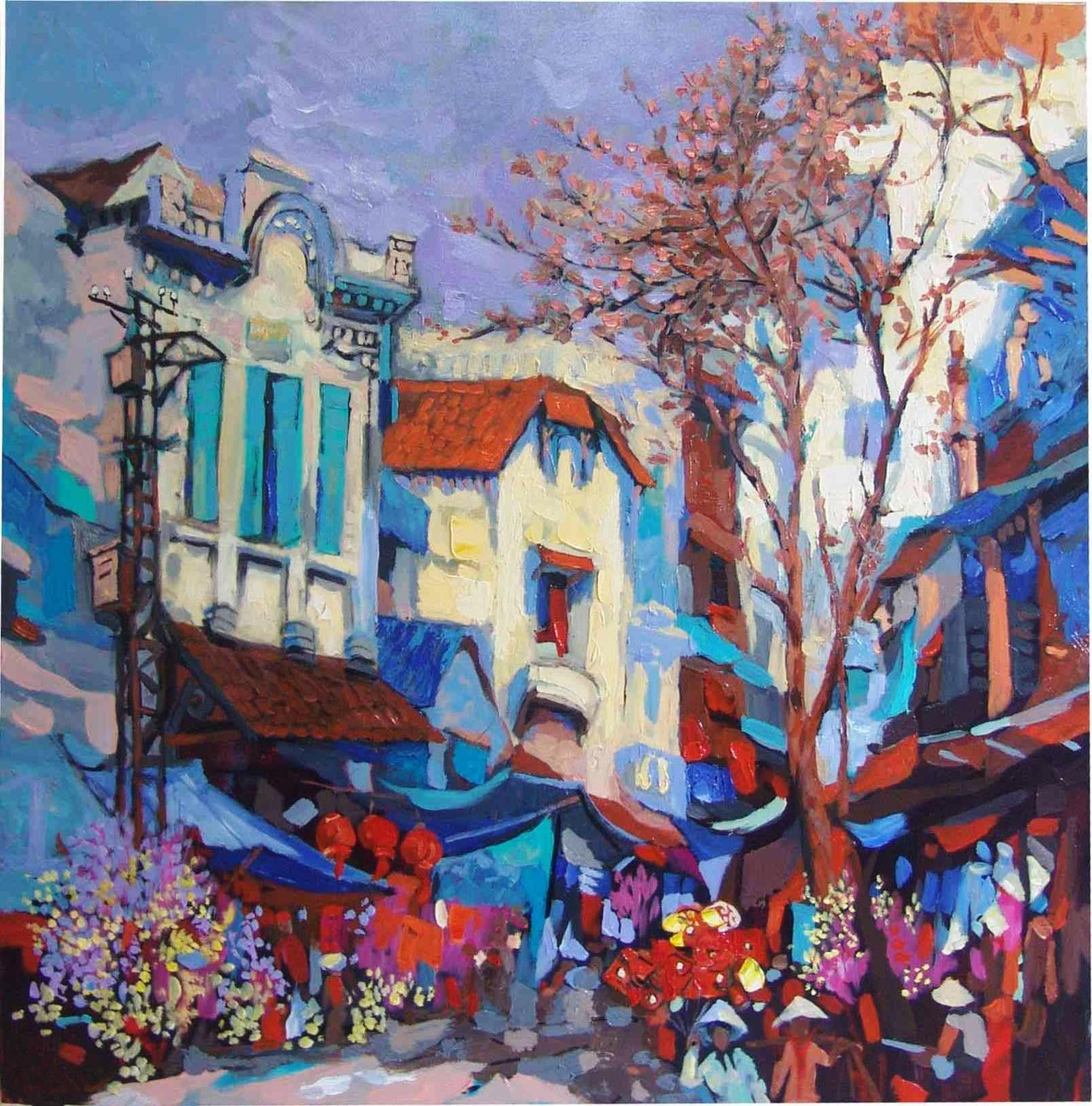 "Festive Season,  30:""x32"" Vietnamese hand painted oil painting"