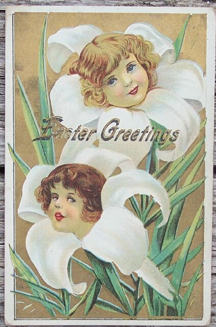 1911 Edwardian Easter Girls in Lillies Greetings PC