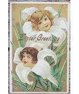 1911 Edwardian Easter Girls in Lillies Greetings PC - $3.00