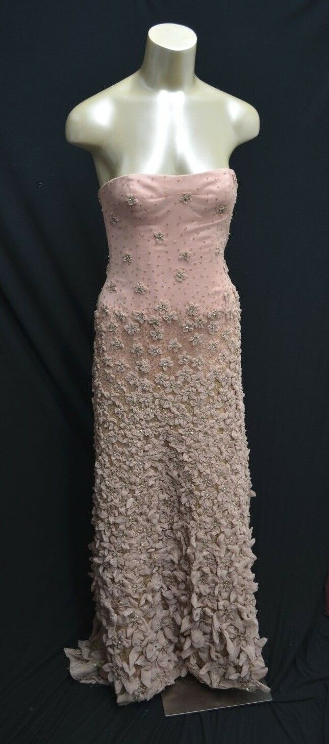 BCBG Max Azria ATELIER embellished TULLE Gown dress Pink Red Carpet Bowl