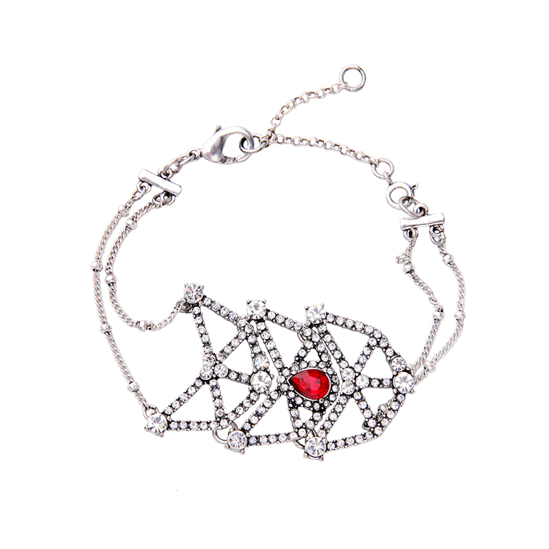 Eometric crystal charm bracelet silver color alloy luxury party costume jewelry birthday gifts 1