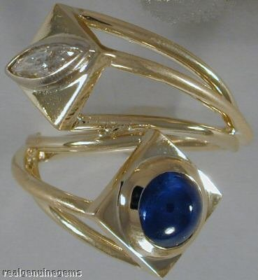 3.3ct Sapphire  with 0.39ct Marquis Diamond Estate Ring 18K