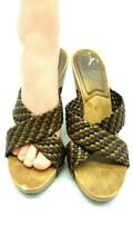 Michael Kors Sz 7.5M Bronze Brown Leather Open Toe Weaved Wood Heels 609 - $17.97