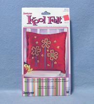 Janlynn Kool Felt Crewel Pillow Craft Kit Tall Flowers #023-0478 2007 - $9.99