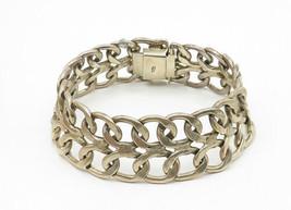 925 Sterling Silver - Vintage Open Swirl Linked Wide Chain Bracelet - B6234 image 2