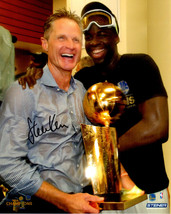 Steve Kerr Signed Golden State Warriors Holding 2017 NBA Champs Trophy W... - $80.00