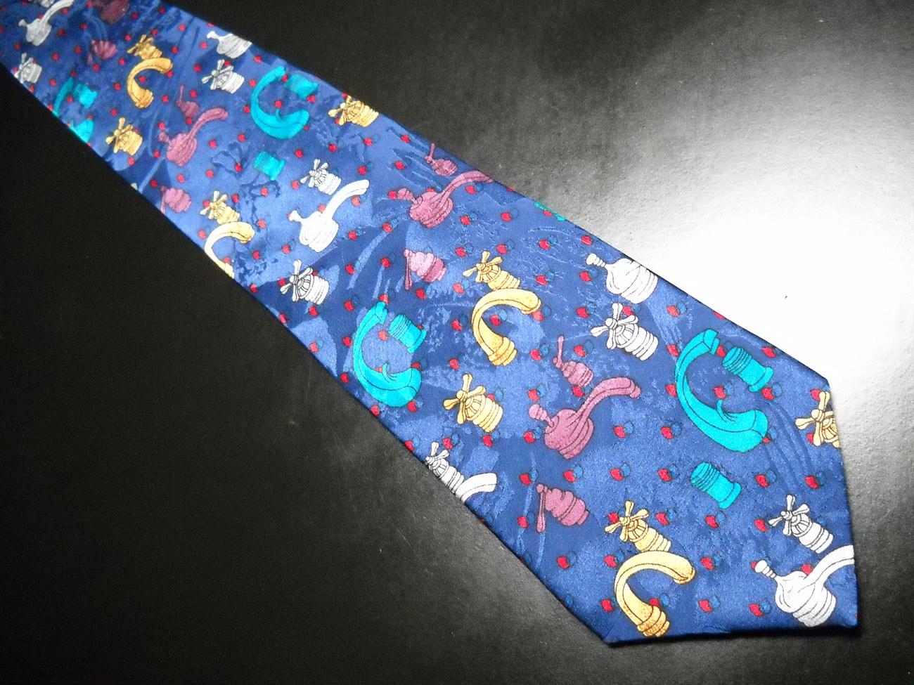 Oscardo Dress Neck Tie Silk Dark Blue with Multi Color Plumbing Faucets Canadian